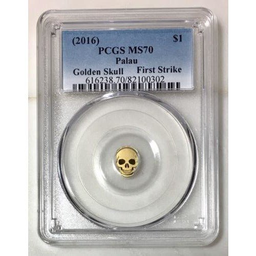 2016 Palau $1 Golden Skull Pcgs Ms70 *rev Tyes* #030290 Coin