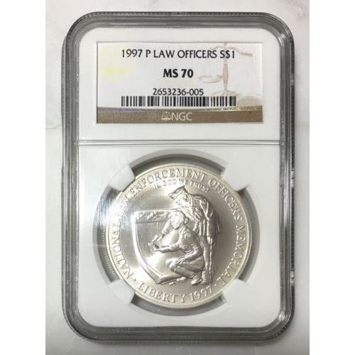 1997 P Law Officers Silver $1 Ngc Ms70 #6005295 Coin