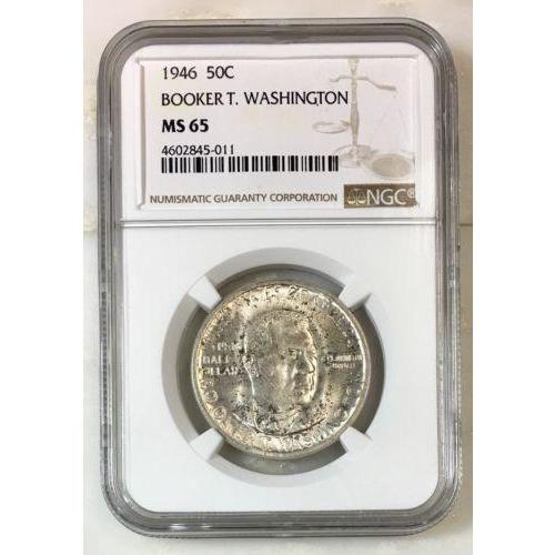 1946 Booker T Washington Half Ngc Ms65 *rev Tyes* #501134 Coin