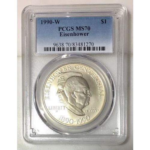 1990 W Eisenhower Comm. Dollar Pcgs Ms70 *rev Tyes* #1270100 Coin