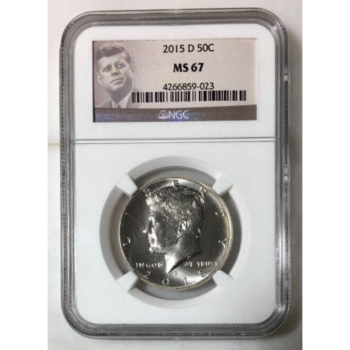 2015 D Kennedy Half Dollar Ngc Ms67 *rev Tyes* #9023 Coin