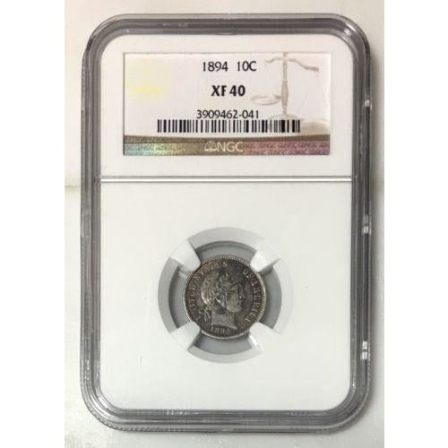 1894 Barber Dime Ngc Xf40 *rev Tyes* #2041164 Coin