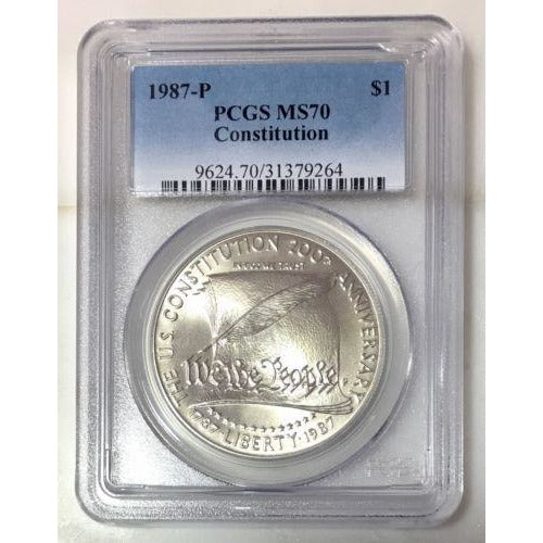 1987 P Constitution Dollar Pcgs Ms70 *rev Tyes* #926480 Coin