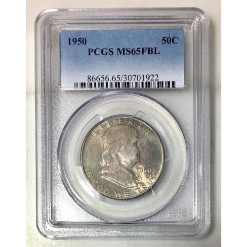 1950 Franklin Half Pcgs Ms65Fbl *rev Tyes* #1922120 Coin