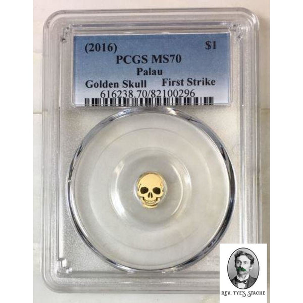 2016 Palau $1 Golden Skull Pcgs Ms70 *rev Tyes* #029690 Coin