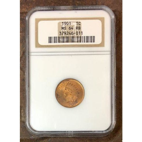 1901 Indian Head Cent Ngc Ms64 Rb *rev Tyes* #601192 Coin