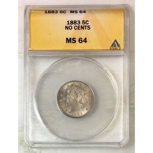 1883 Liberty Nickel Anacs Ms64 *rev Tyes* #921793 Coin