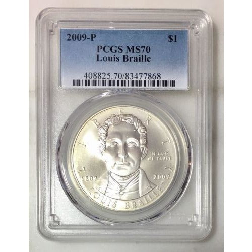 2009 Louis Braille Dollar Pcgs Ms70 #786842 Coin