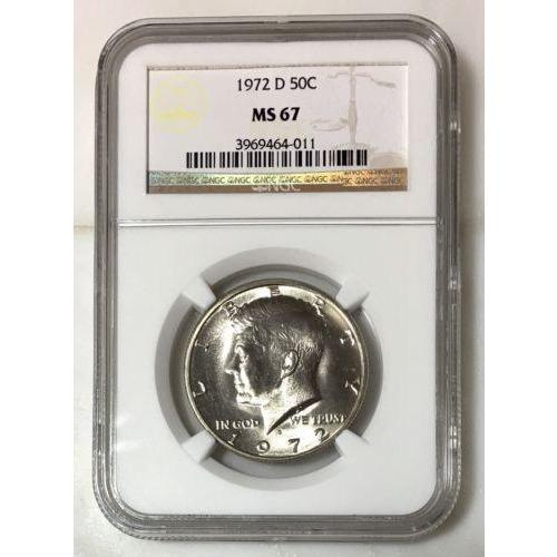 1972 D Kennedy Half Dollar Ngc Ms67 *rev Tyes* #4011135 Coin