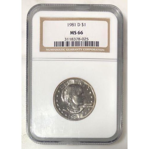 1981 D Susan B Anthony Dollar Ngc Ms66 #802515 Coin