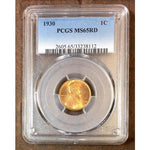 1930 Lincoln Cent Pcgs Ms65 Rd *rev Tyes* #811237 Coin