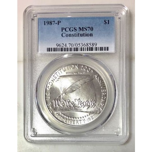 1987 P Constitution Dollar Pcgs Ms70 *rev Tyes* #858980 Coin