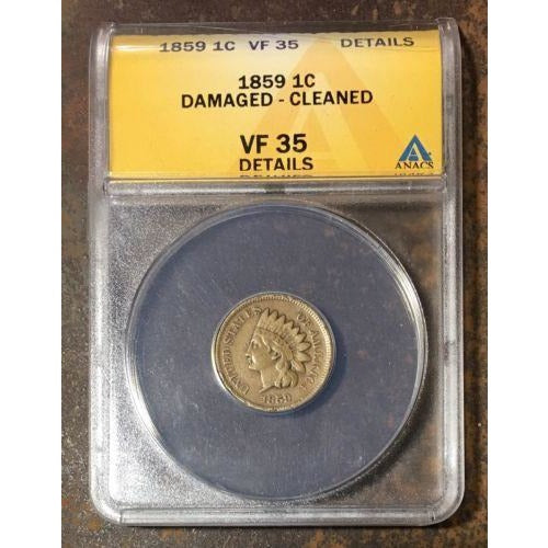 1859 Indian Head Cent Anacs Vf35 Details *rev Tyes* #045235 Coin