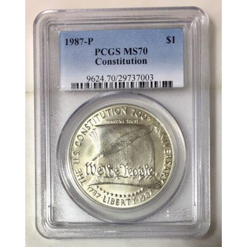 1987 Constitution Dollar Pcgs Ms70 *rev Tyes* #700366 Coin
