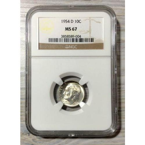 1954 D Roosevelt Dime Ngc Ms67 *rev Tyes* #9004100 Coin