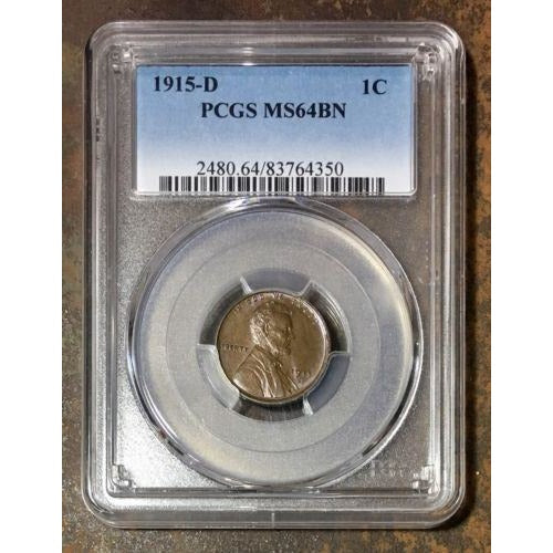 1915 D Lincoln Cent Pcgs Ms64Bn *rev Tyes* #4350167 Coin