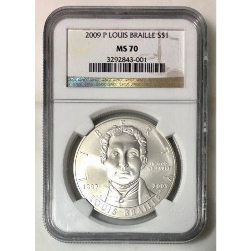 2009 Louis Braille Dollar Ngc Ms70 #300140 Coin