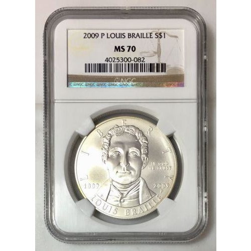 2009 Louis Braille Dollar Ngc Ms70 #008250 Coin