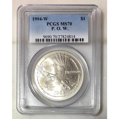 1994-W P.o.w. Commemorative Dollar Pcgs Ms70 #4814105 Coin