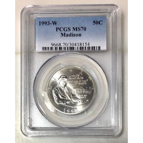 1993-W Madison Half Dollar Pcgs Ms70 #815441 Coin