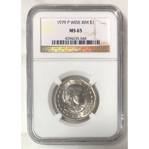 1979 P Wide Rim Susan B Anthony Dollar Ngc Ms65 #5048 Coin
