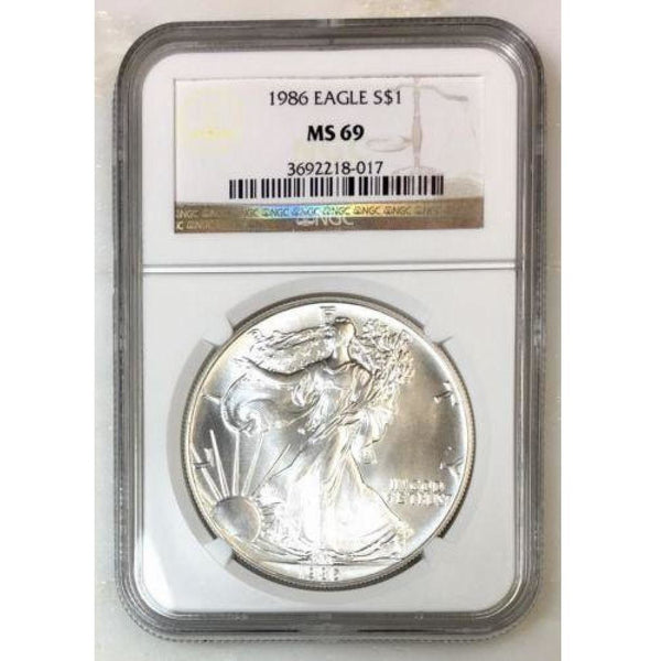 1986 Silver Eagle Ngc Ms69 *rev Tyes* #801753 Coin