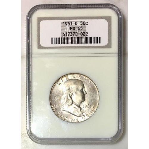 1961 D Franklin Half Dollar Ngc Ms65 #*rev Tyes* 202261 Coin