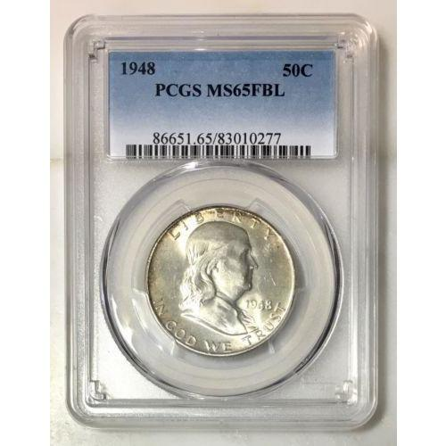 1948 Franklin Half Pcgs Ms65Fbl *rev Tyes* #027774 Coin