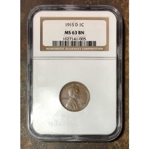 1915 D Lincoln Cent Ngc Ms63 Bn *rev Tyes* #100590 Coin