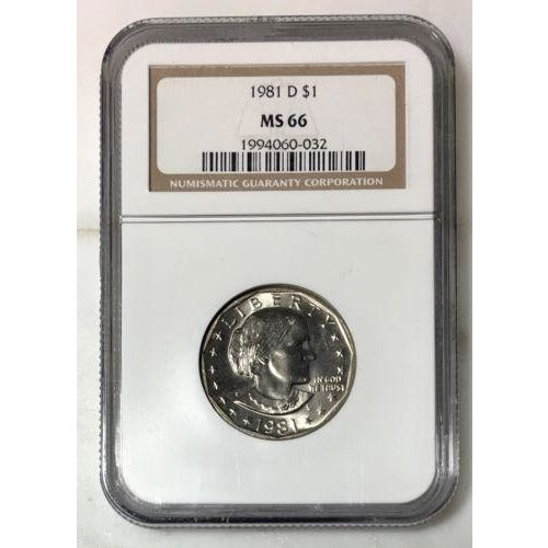 1981 D Susan B Anthony Dollar Ngc Ms66 #003215 Coin