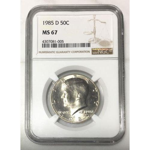 1985 D Kennedy Half Dollar Ngc Ms67 *rev Tyes* #100582 Coin