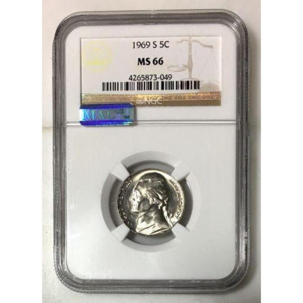 1969 S Jefferson Nickel Ngc Mac Ms66 *rev Tyes* #3049 Coin