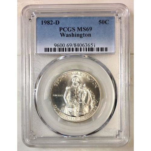 1982 D Washington Half Dollar Pcgs Ms69 *rev Tyes* #365160 Coin