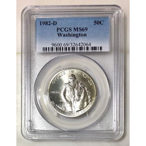 1982 D Washington Half Dollar Pcgs Ms69 *rev Tyes* #206469 Coin