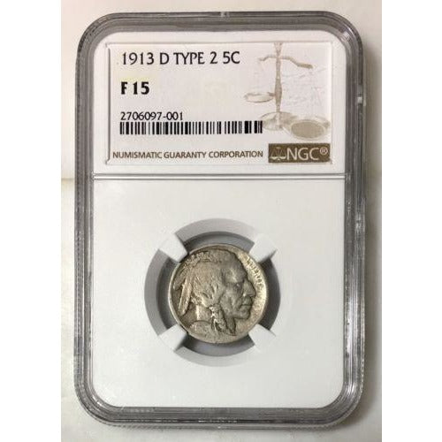 1913 D Type 2 Buffalo Nickel Ngc F15 *rev Tyes* #7001118 Coin