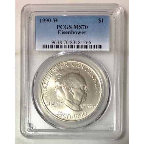 1990 W Eisenhower Dollar Pcgs Ms70 *rev Tyes* #1266100 Coin