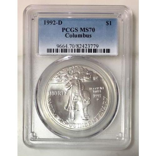 1992 D Columbus Dollar Pcgs Ms70 #377990 Coin