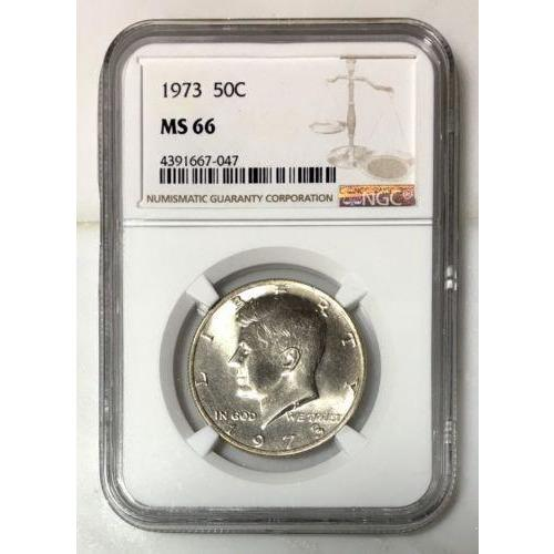 1973 Kennedy Half Dollar Ngc Ms66 *rev Tyes* #704780 Coin