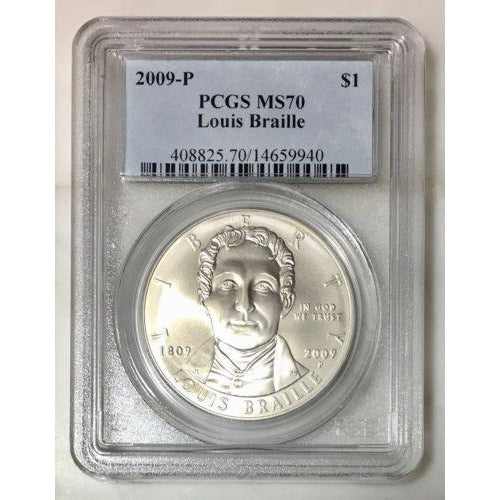 2009 Louis Braille Dollar Pcgs Ms70 #994035 Coin