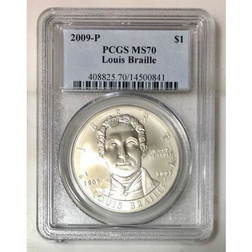 2009 Louis Braille Dollar Pcgs Ms70 #084135 Coin
