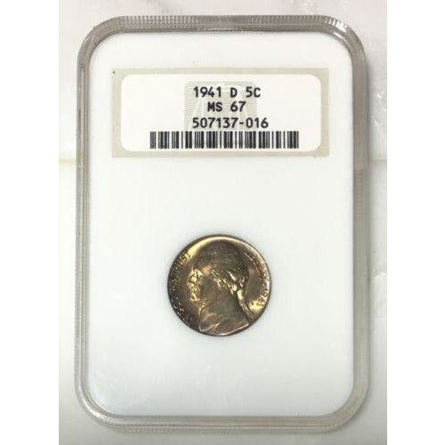 1941 D Jefferson Nickel Ngc Ms67 *rev Tyes* #701679 Coin