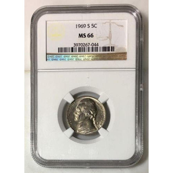 1969 S Jefferson Nickel Ngc Ms66 *rev Tyes* #7044121 Coin
