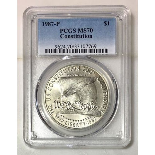 1987 Constitution Dollar Pcgs Ms70 *rev Tyes* #776976 Coin