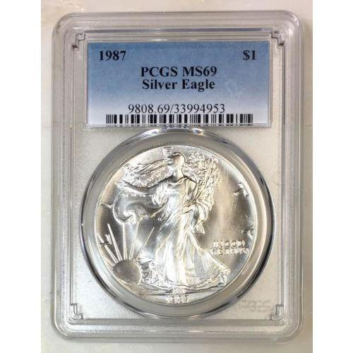 1987 Silver Eagle Pcgs Ms69 *rev Tyes* #495340 Coin