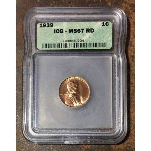 1939 Lincoln Cent Icg Ms67 Rd *rev Tyes* #020470 Coin