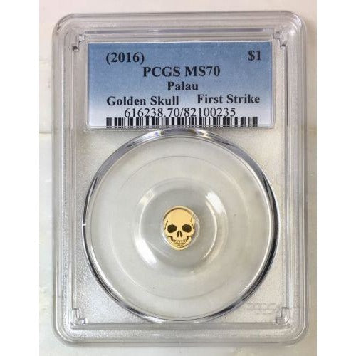 2016 Palau $1 Golden Skull Pcgs Ms70 *rev Tyes* #023590 Coin