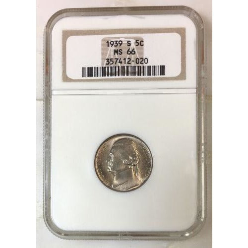 1939 S Jefferson Nickel Ngc Ms66 *rev Tyes* #202085 Coin