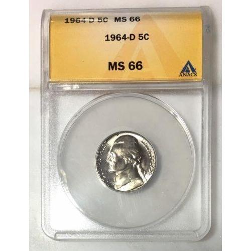 1964 D Jefferson Nickel Anacs Ms66 *rev Tyes* #6434 Coin