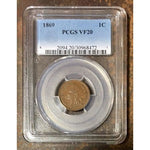 1869 Indian Head Cent Pcgs Vf20 *rev Tyes* #8472220 Coin