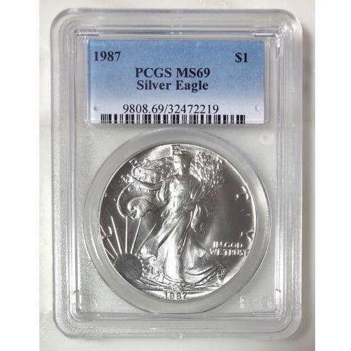 1987 Silver Eagle Dollar Pcgs Ms69 *rev Tyes* #221942 Coin